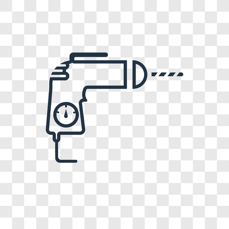 Drill concept vector linear icon isolated on transparent background, Drill concept transparency concept in outline style