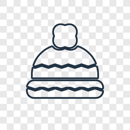 Winter hat concept vector linear icon isolated on transparent background, Winter hat concept transparency concept in outline style