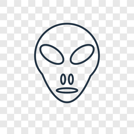 Little Extraterrestial concept vector linear icon isolated on transparent background, Little Extraterrestial concept transparency concept in outline style