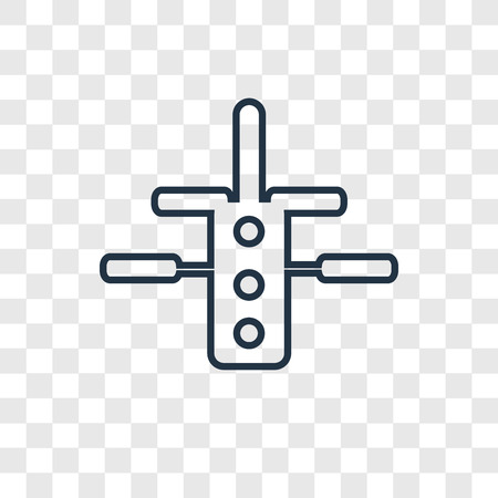 Space station concept vector linear icon isolated on transparent background, Space station concept transparency concept in outline style