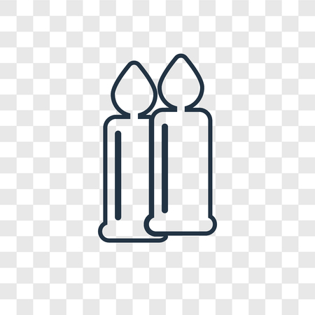 Candles concept vector linear icon isolated on transparent background, Candles concept transparency concept in outline style
