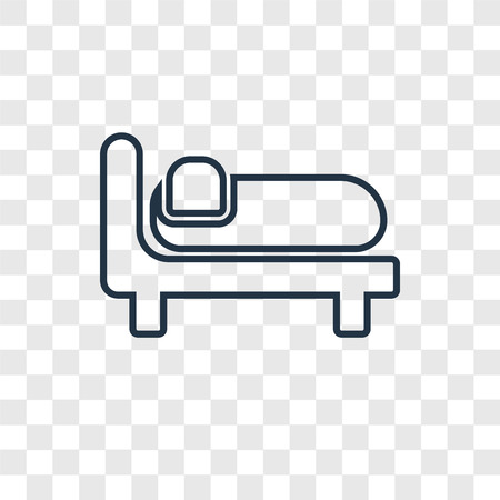 Icône linéaire de vecteur de concept de lit isolé sur fond transparent, concept de transparence de concept de lit dans le style de contour