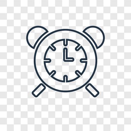 Icona lineare di vettore di concetto di orologio da tavolo isolato su sfondo trasparente, concetto di trasparenza di concetto di orologio da tavolo in stile del contorno Vettoriali