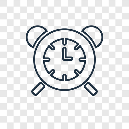 Table clock concept vector linear icon isolated on transparent background, Table clock concept transparency concept in outline style