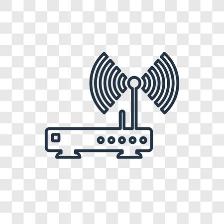 Wifi-Router-Konzept-Vektor-lineares Symbol isoliert auf transparentem Hintergrund, Wifi-Router-Konzept-Transparenzkonzept im Umriss-Stil