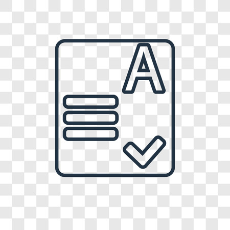 Exam concept vector linear icon isolated on transparent background, Exam concept transparency concept in outline style