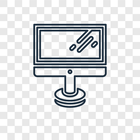 Monitor concept vector linear icon isolated on transparent background, Monitor concept transparency concept in outline style Иллюстрация