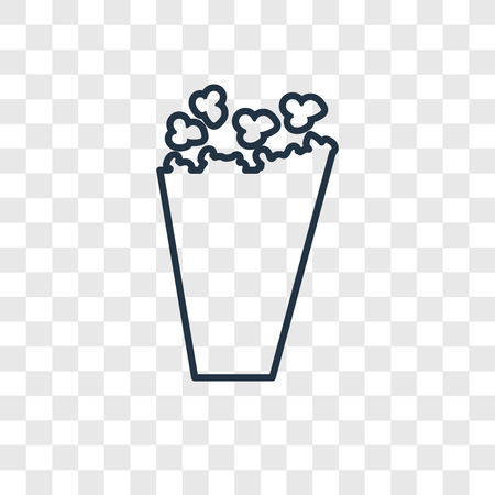 Popcorn concept vector linear icon isolated on transparent background, Popcorn concept transparency concept in outline style