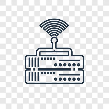 Router-Konzept-Vektor-lineares Symbol isoliert auf transparentem Hintergrund, Router-Konzept-Transparenzkonzept im Umriss-Stil Vektorgrafik
