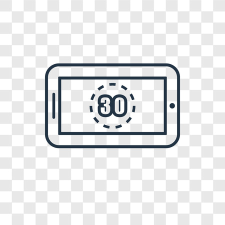 Digital display 30 concept vector linear icon isolated on transparent background, Digital display 30 concept transparency concept in outline style  イラスト・ベクター素材