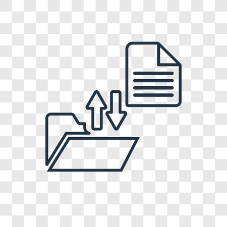 Icono lineal de vector de concepto de transferencia de archivo aislado sobre fondo transparente, concepto de transparencia de concepto de transferencia de archivo en el estilo de contorno Ilustración de vector