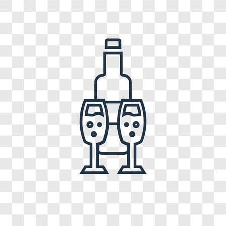 Wine concept vector linear icon isolated on transparent background, Wine concept transparency concept in outline style