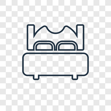 Bed concept vector linear icon isolated on transparent background, Bed concept transparency concept in outline style