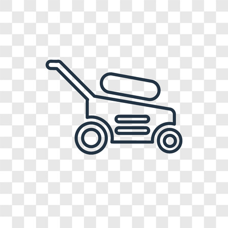 Lawnmower concept vector linear icon isolated on transparent background, Lawnmower concept transparency concept in outline style