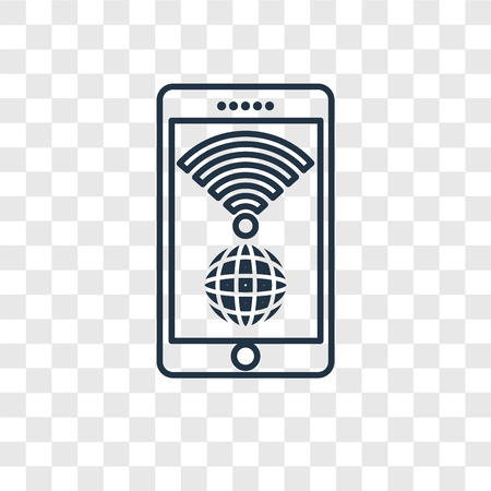 Wireless internet concept vector linear icon isolated on transparent background, Wireless internet concept transparency concept in outline style Ilustração