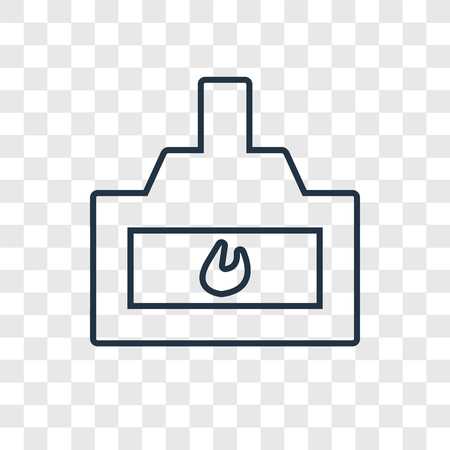 Chimney concept vector linear icon isolated on transparent background, Chimney concept transparency concept in outline style Ilustração