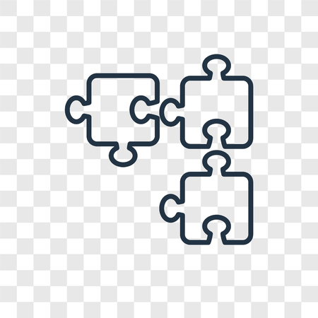 Puzzle concept vector linear icon isolated on transparent background, Puzzle concept transparency concept in outline style Çizim
