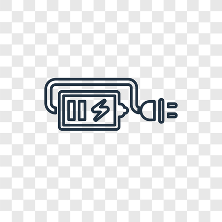 Charger concept vector linear icon isolated on transparent background, Charger concept transparency concept in outline style