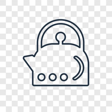 Czajnik koncepcja wektor liniowa ikona na białym tle na przezroczystym tle, koncepcja przezroczystości czajnika w stylu konspektu
