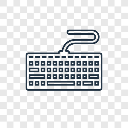 Keyboard concept vector linear icon isolated on transparent background, Keyboard concept transparency concept in outline style