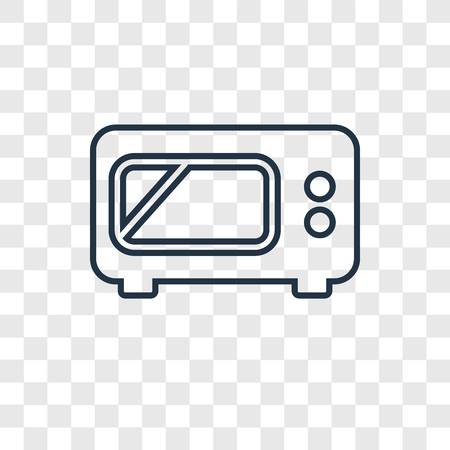 Icono lineal de vector de concepto de microondas aislado sobre fondo transparente, concepto de transparencia de concepto de microondas en el estilo de contorno Ilustración de vector