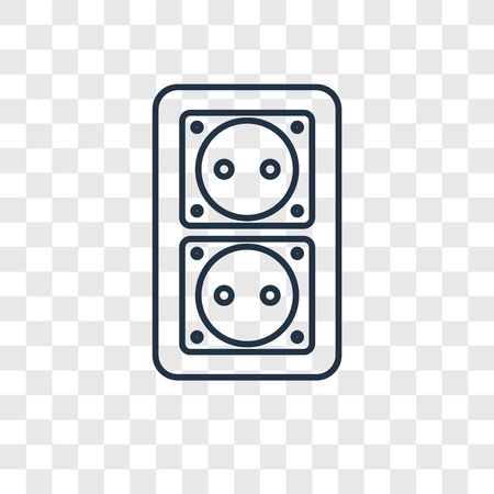 Socket concept vector linear icon isolated on transparent background, Socket concept transparency concept in outline style