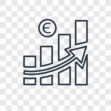 Icône linéaire de vecteur de concept de croissance isolé sur fond transparent, concept de transparence concept de croissance dans le style de contour