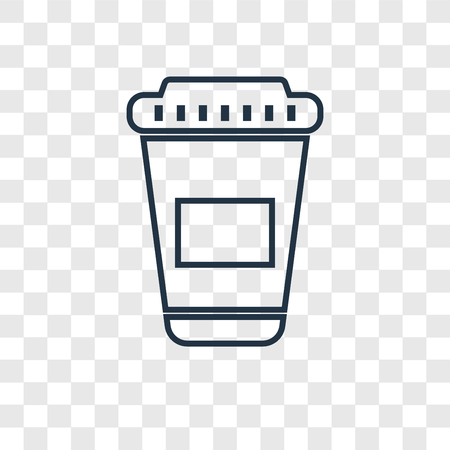 Paper cup concept vector linear icon isolated on transparent background, Paper cup concept transparency concept in outline style Иллюстрация