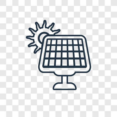 Solar Energy concept vector linear icon isolated on transparent background, Solar Energy concept transparency concept in outline style