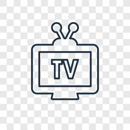Television concept vector linear icon isolated on transparent background, Television concept transparency concept in outline style Vecteurs