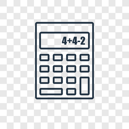 Small calculator concept vector linear icon isolated on transparent background, Small calculator concept transparency concept in outline style Illustration