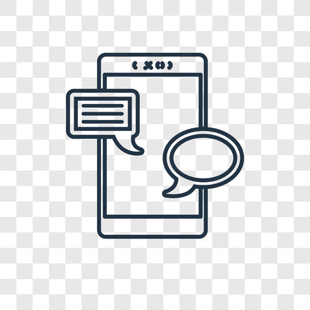 Chat concept vector linear icon isolated on transparent background, Chat concept transparency concept in outline style