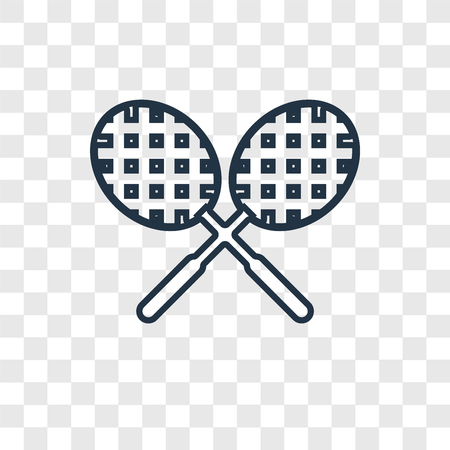 Tennis racket concept vector linear icon isolated on transparent background, Tennis racket concept transparency concept in outline style