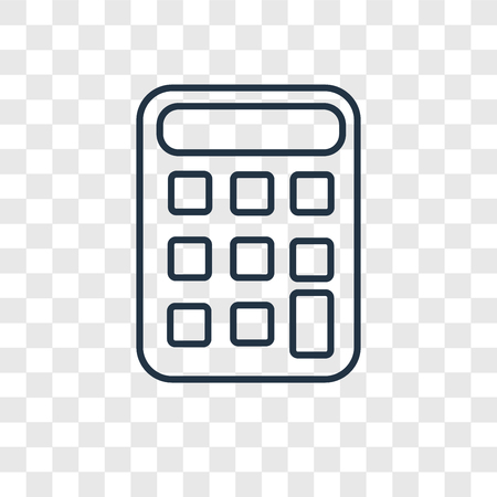 Calculator concept vector linear icon isolated on transparent background, Calculator concept transparency concept in outline style