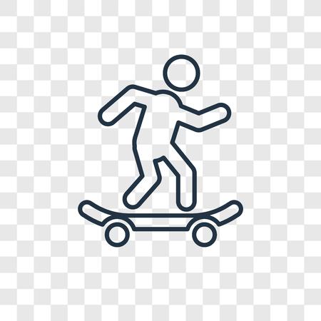 Icône linéaire skateboard concept vecteur isolé sur fond transparent, concept de transparence skateboard concept dans le style de contour Vecteurs