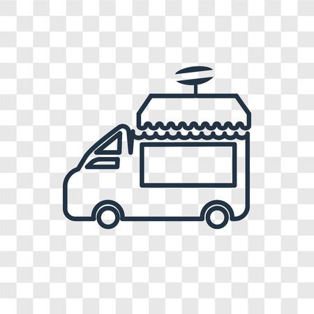 Food Truck Konzept Vektor lineares Symbol isoliert auf transparentem Hintergrund, Food Truck Konzept Transparenzkonzept im Umriss-Stil Vektorgrafik