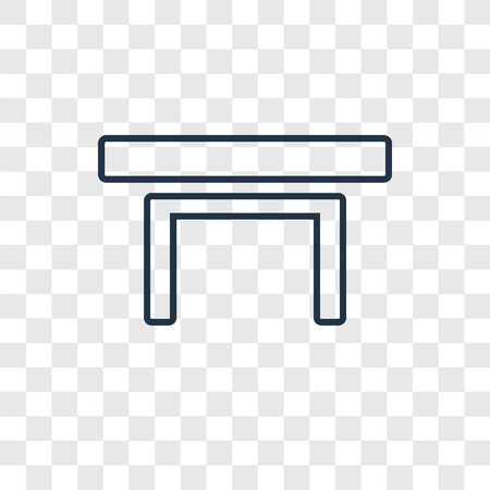 Table concept vector linear icon isolated on transparent background, Table concept transparency concept in outline style