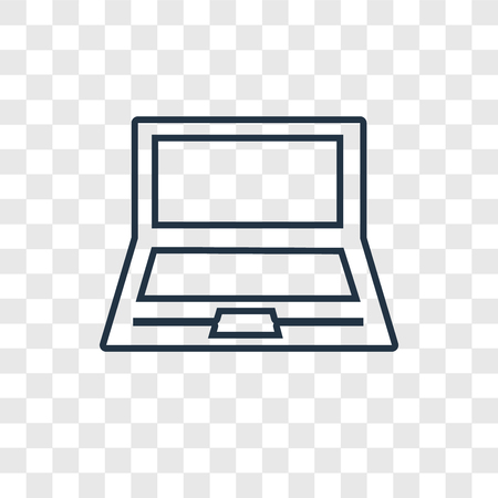 Laptop concept vector linear icon isolated on transparent background, Laptop concept transparency concept in outline style