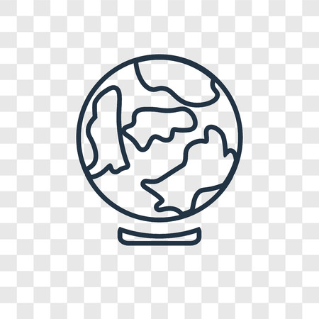 Earth globe concept vector linear icon isolated on transparent background, Earth globe concept transparency concept in outline style