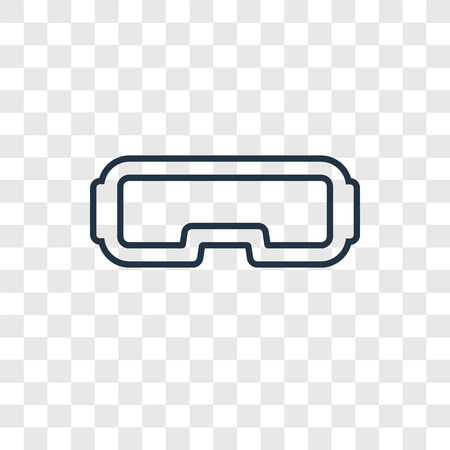 Vr glasses concept vector linear icon isolated on transparent background, Vr glasses concept transparency concept in outline style