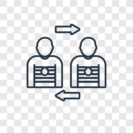 Spielerersatzkonzept Vektor lineares Symbol isoliert auf transparentem Hintergrund, Spielerersatzkonzept Transparenzkonzept im Umrissstil transparency
