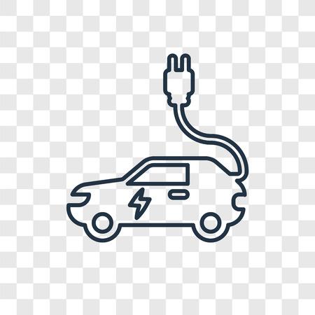 Icône linéaire de vecteur voiture électrique concept isolé sur fond transparent, concept de transparence voiture électrique concept dans le style de contour Vecteurs