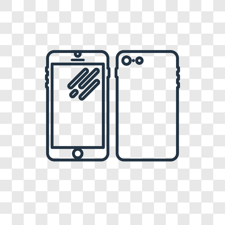 Phones concept vector linear icon isolated on transparent background, Phones concept transparency concept in outline style