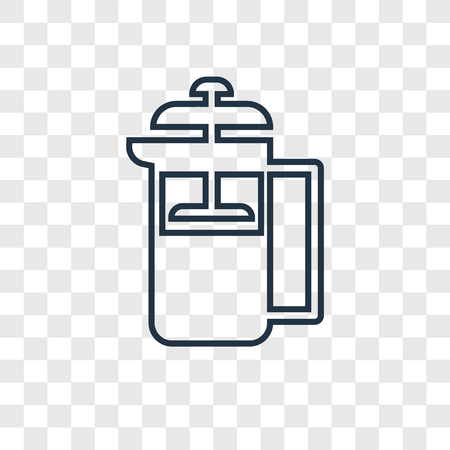 French press concept vector linear icon isolated on transparent background, French press concept transparency concept in outline style