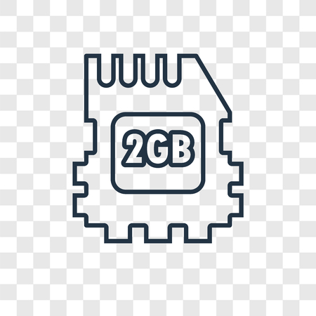 Memory Card concept vector linear icon isolated on transparent background, Memory Card concept transparency concept in outline style Illustration