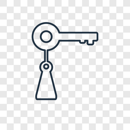 Key concept vector linear icon isolated on transparent background, Key concept transparency concept in outline style