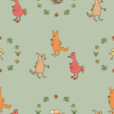 three animals: Seamless pattern tre animali Vettoriali