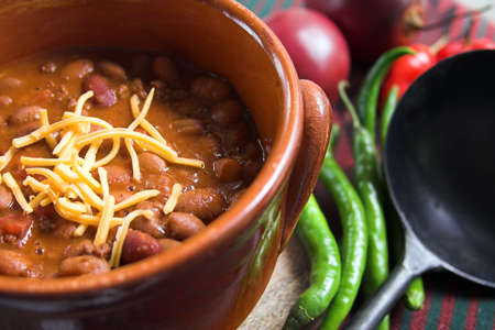 pinto beans: chili con carne with cheese Stock Photo