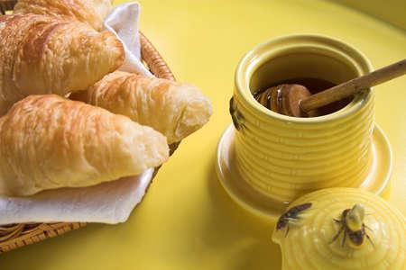 croissants and honey photo