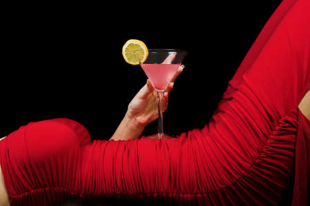 velvet dress: woman and cocktail